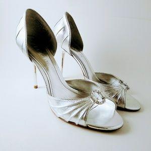 ALDO Silver High Heels Sandal Sz 40